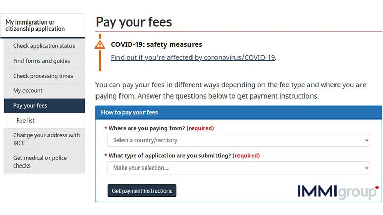 Pay your IRCC fees