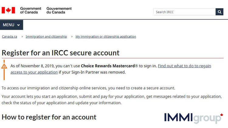 Register for an IRCC secure account