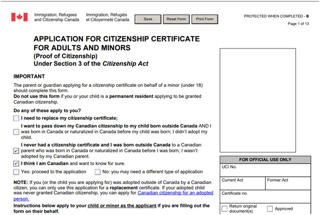 Citizenship Certificate Application Form Page 1 Top