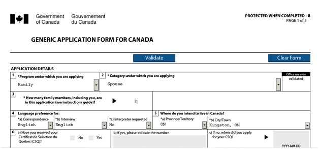 IMM 0008 General Application Form for Canada for a Sponsored Spouse Page 1 Top: Application Details