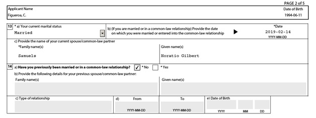 IMM 0008 General Application Form for Canada for a Sponsored Spouse Page 2 top: Personal Details (of the sponsored spouse) part 3