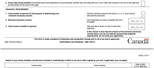 IMM 1283 Financial Evaluation page 1 bottom: financial requirement