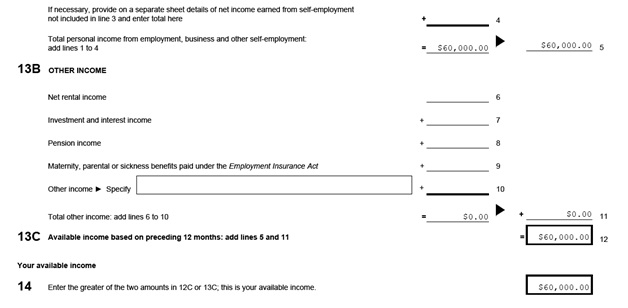 IMM 1283 Financial Evaluation page 4 middle: income calculation