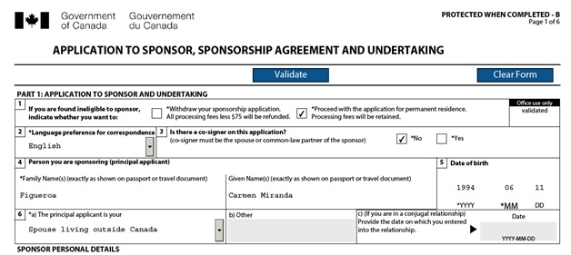 Application to Sponsor, Sponsorship Agreement and Undertaking Page 1 Top