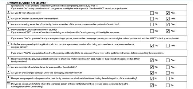 Application to Sponsor, Sponsorship Agreement and Undertaking Page 2: Sponsor Eligibility Assessment Part 1
