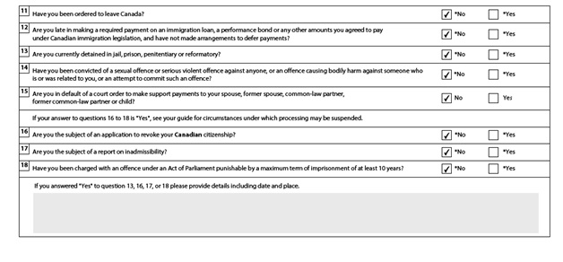 Application to Sponsor, Sponsorship Agreement and Undertaking Page 3: Sponsor Eligibility Assessment Part 2