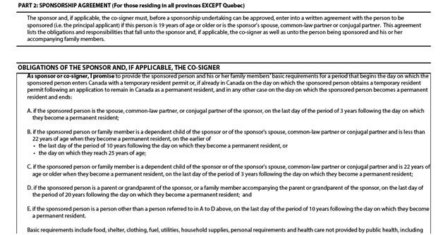 Application to Sponsor, Sponsorship Agreement and Undertaking Page 6: Sponsorship Agreement and Obligations of the Sponsor part 1