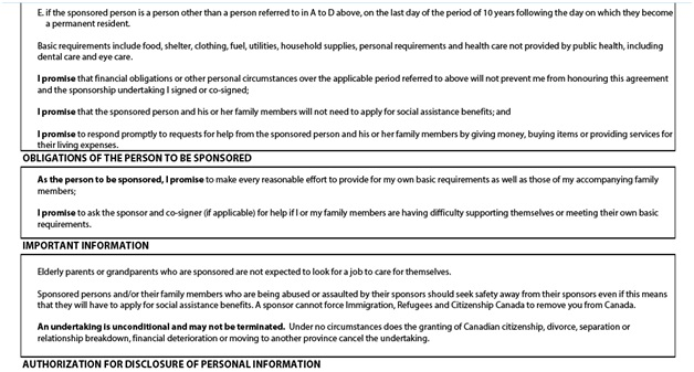 Application to Sponsor, Sponsorship Agreement and Undertaking Page 6: Obligations of the Sponsor part 2, Obligations of the pesron to be sponsored, authorization for disclosure