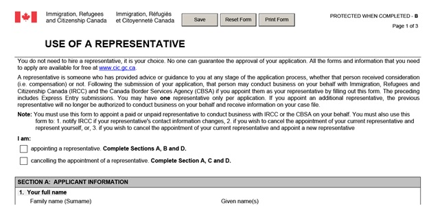 IMM 5476 Use of Representative page 1 top: explanation of form