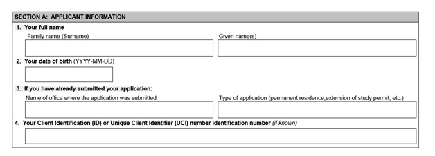 IMM 5476 Use of Representative page 1 middle Part A: principal applican'ts information