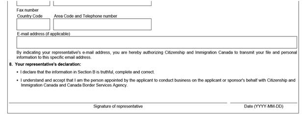 IMM 5476 Use of Representative page 2 middle: representative's declaration
