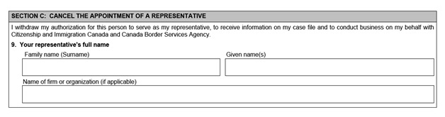 IMM 5476 Use of Representative page 2 bottom Part C: cancelling your representative