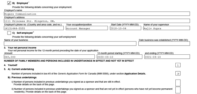 IMM 5481 Sponsorship Evaluation Page 1 middle: sponsor's employment information and number of people in the family