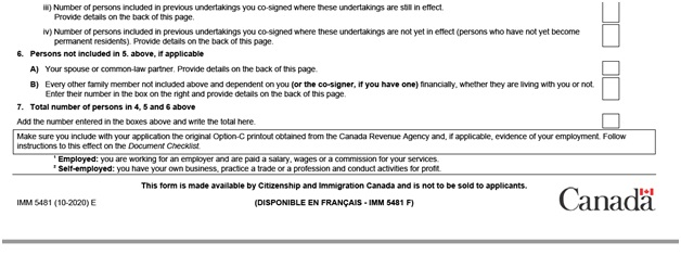 IMM 5481 Sponsorship Evaluation Page 1 bottom: family members not included in the application