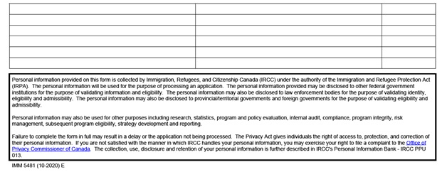 IMM 5481 Sponsorship Evaluation Page 2 bottom: dependent family members already in Canada