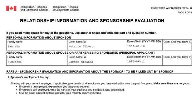 IMM 5532 Relationship Information and Sponsorship Evaluation Page 1 Top: Personal Information about the couple