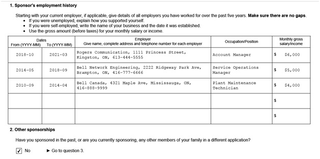 IMM 5532 Relationship Information and Sponsorship Evaluation Page 1 Middle: Sponsor's Employment History