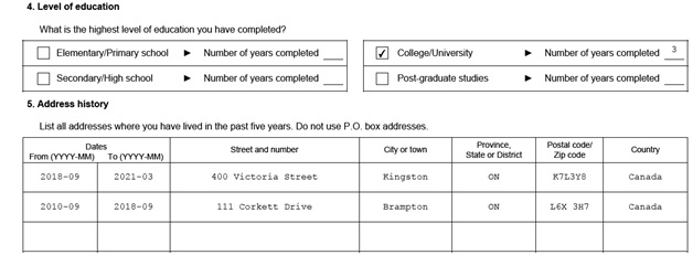 IMM 5532 Relationship Information and Sponsorship Evaluation Page 2 Middle: Sponsor's Level of Education