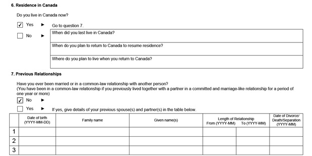 IMM 5532 Relationship Information and Sponsorship Evaluation Page 2 Bottom: Sponsor's Residence in Canada and Previous Relationships