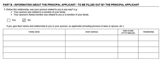 IMM 5532 Relationship Information and Sponsorship Evaluation Page 3 Middle: Information About the Principal Applicant