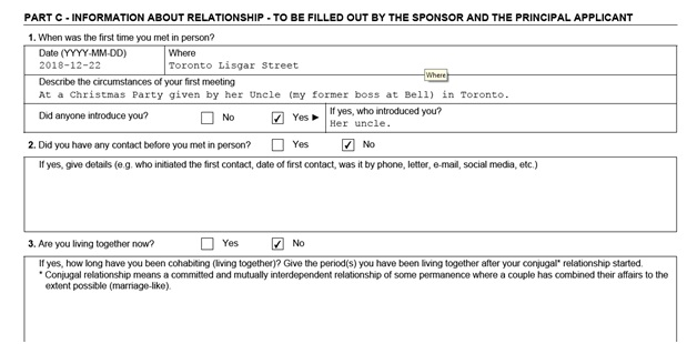 IMM 5532 Relationship Information and Sponsorship Evaluation Page 5 Top: Information About Relationship part 1