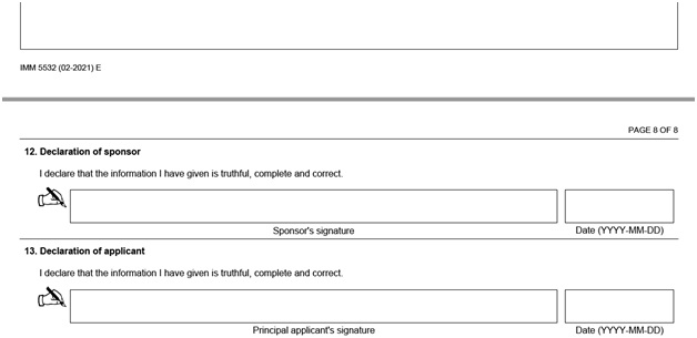 IMM 5532 Relationship Information and Sponsorship Evaluation Page 8 top: Your signed declarations