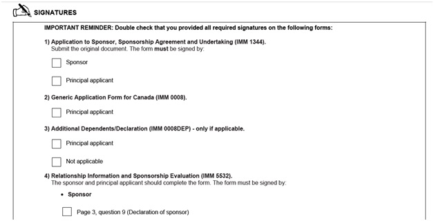 IMM 5533 Document Checklist for Sponsoring a Spouse page 10 top Signatures