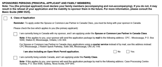IMM 5533 Document Checklist for Sponsoring a Spouse page 2 top Part A: Forms Required for the Sponsored Persons