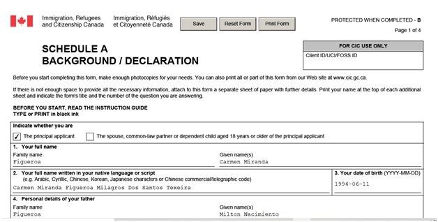 IMM 5669 Schedule A Background Declaration page 1 top personal information