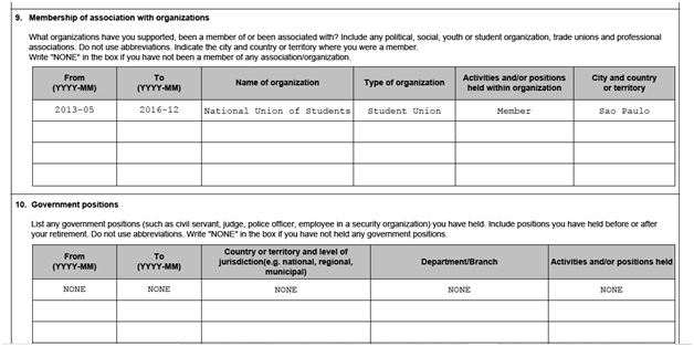 IMM 5669 Schedule A Background Declaration page 4 top organizations and government jobs