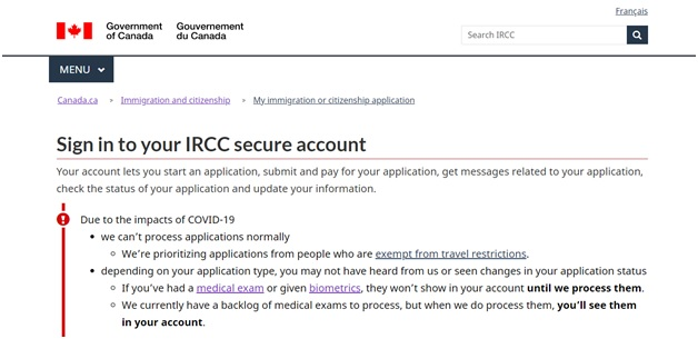 IRCC Account Sign in Page