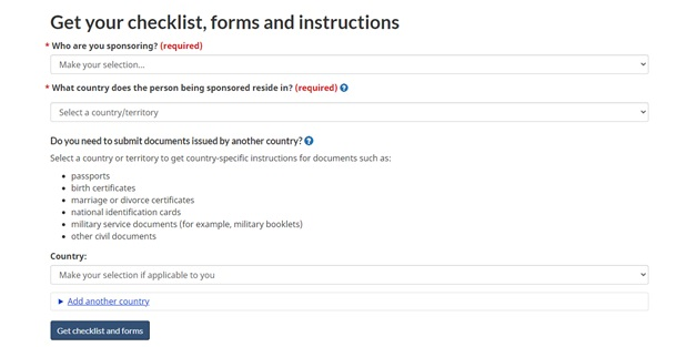 Where the additional country forms can be found on IRCC's website