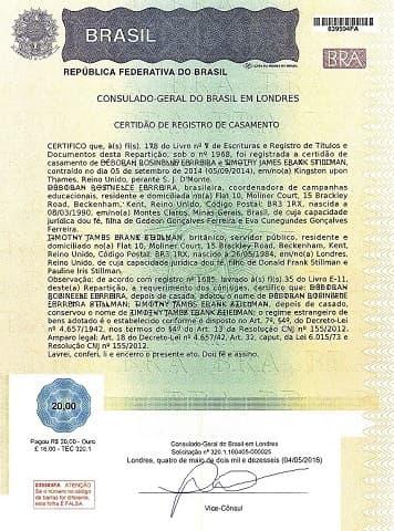 Sample Brazilian marriage certificate from http://cglondres.itamaraty.gov.br/en-us/marriage.xml