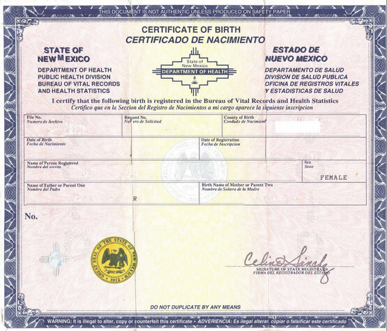 American birth certificate