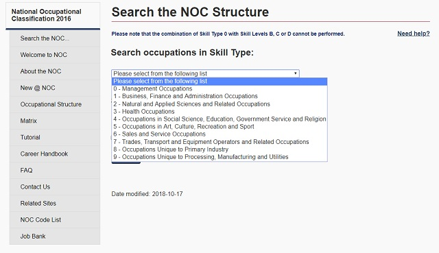 Search the NOC by Structure