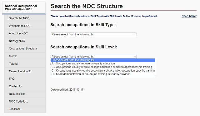 Searching the NOC by Structure