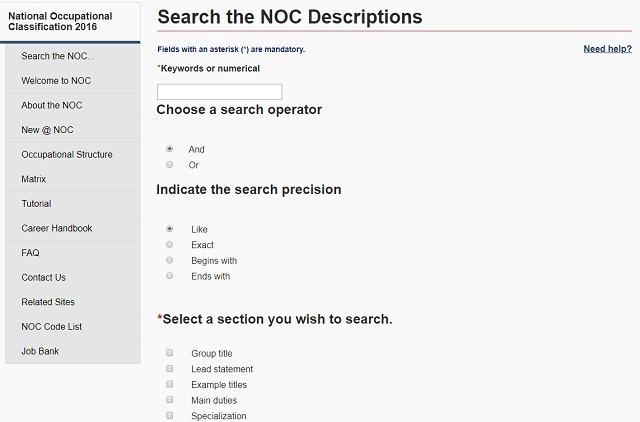 Searching the NOC by description