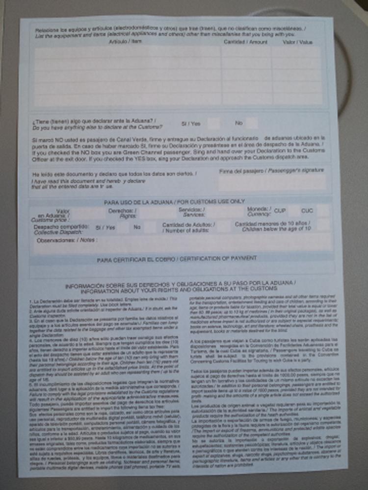 Cuban Customs Form, back
