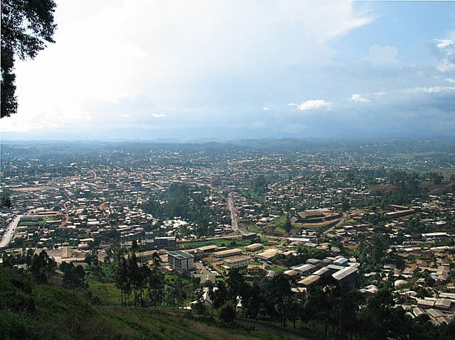 Bamenda, Northwest Province, Cameroon, as viewed from the mountain road into the city. Photo by uploader.