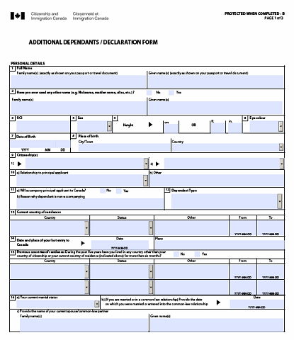 Additional Dependants form