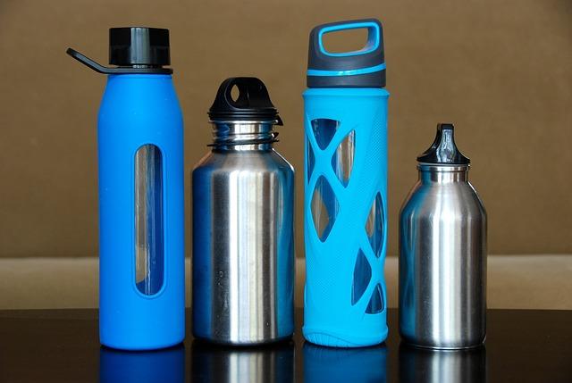 Water bottles via https://pixabay.com/en/bottles-water-steel-glass-774466/