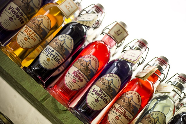 Bottles of syrup via https://pixabay.com/en/bottle-syrup-blueberry-drink-drunk-190462/