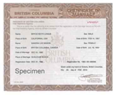 British Columbia Marriage Certificate