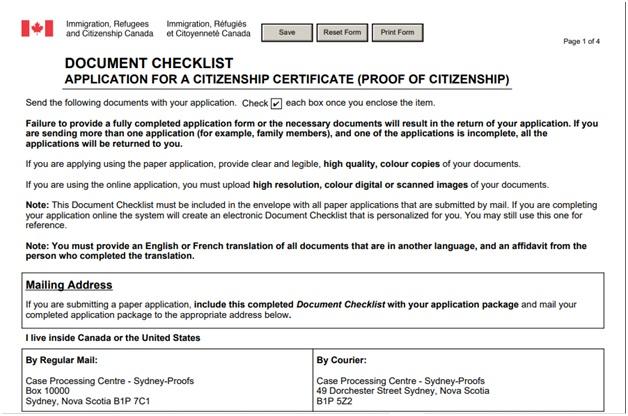 CIT 0014 Document Checklist Page 1 Top