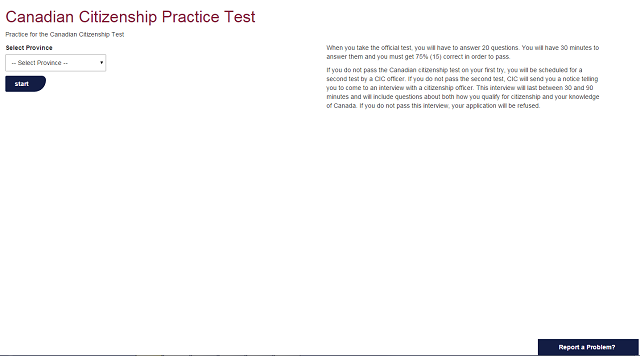 Citizenship Practice Test Start Screen