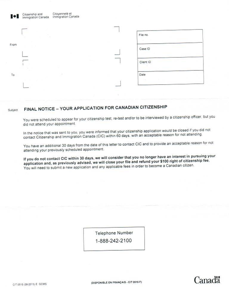 Citizenship Test Final Notice