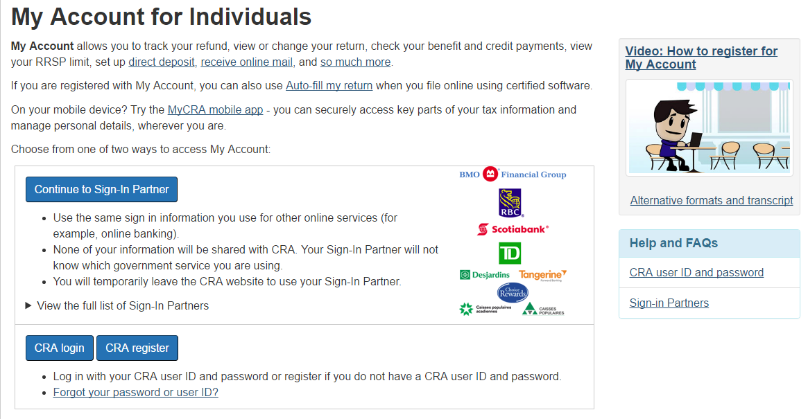 My Account with CRA