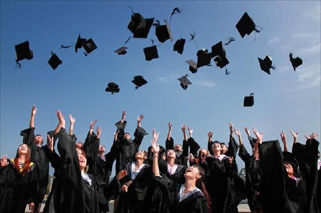 Students graduating via