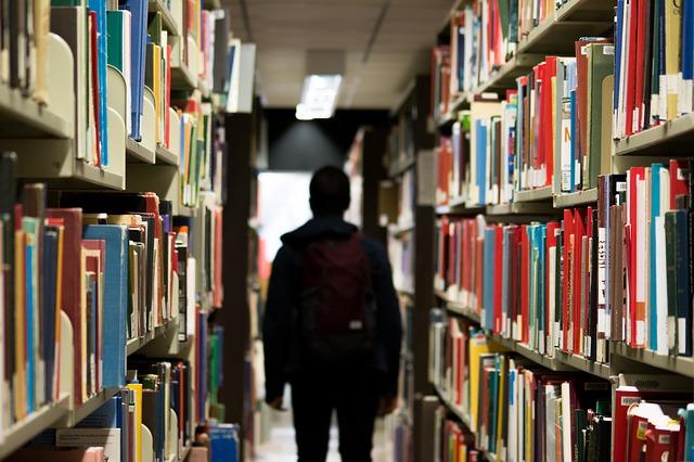 Student in Library via https://pixabay.com/en/library-books-shelves-student-922998/