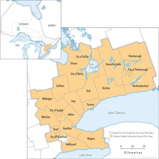 Map of the Greater Golden Horseshoe in Ontario © Queen's Printer for Ontario, 2010